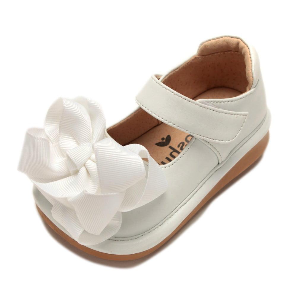 Mooshu Trainers Girls White Bow Squeaky