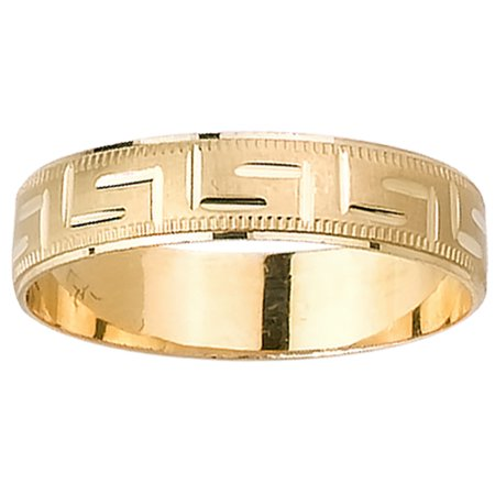 - 18K Two Tone Gold Greek Key Modern Men's Wedding Band (5mm)