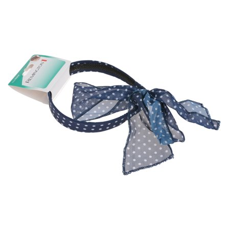 Remington Blue Polka Dotted Headband with Scarf Tails