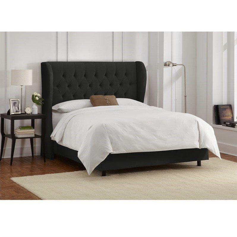 Skyline Tufted Wingback Bed in Velvet Black-California King - image 1 de 2