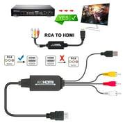 AV to HDMI Adapter, RCA to HDMI Adapter Converter 3RCA CVBS AV Composite to HDMI Converter Adapter Supports Laptop/PC, 1080P for VHS, VCR, Old DVD Players