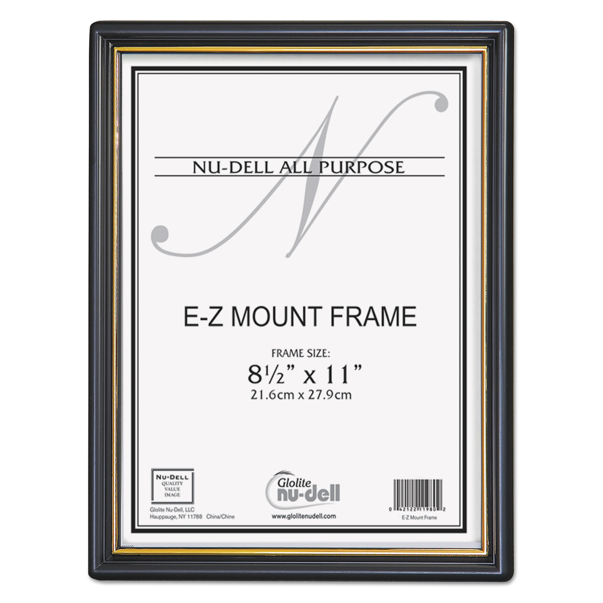 NuDell EZ Mount Document Frame with Trim Accent, Plastic, 8-1/2 x 11, Black/Gold -NUD11880