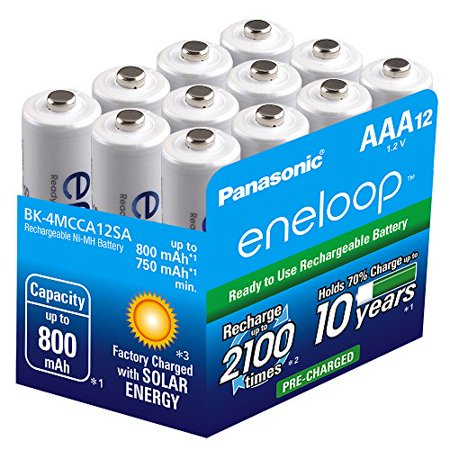 Eneloop Aaa Batteries - Panasonic BK-4MCCA12SA Eneloop AAA 2100 Cycle Ni-MH Pre-Charged Rechargeable Batteries, 12 Pack