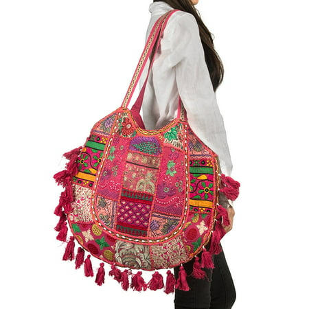 Pink Summer Beach Large Shoulder Bag Tassel Cute Picnic Fashion Hippie Boho Tote Handbag Ethnic Tribal - Cute Tote Bags