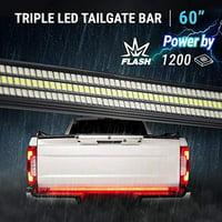 "60"" TRIPLE 1200 LED Tailgate Light Bar Strobe Flashing Brake +Sequential Amber Turn Signal - 1,200 LED Solid Beam - Weatherproof No Drill Install - Full Function Reverse Brake Running 2yr Warranty"