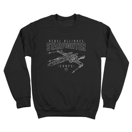 - Rebel Alliance Starfighter Corps Small Black Crewneck Sweatshirt