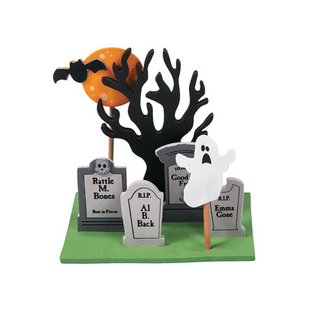 Fun Express - Foam Halloween Graveyard 3d Scene CK-12 for Halloween - Craft Kits - Home Decor Craft Kits - 3 - D Tabletop - Halloween - 12 Pieces - Creatology Halloween Foam Kit