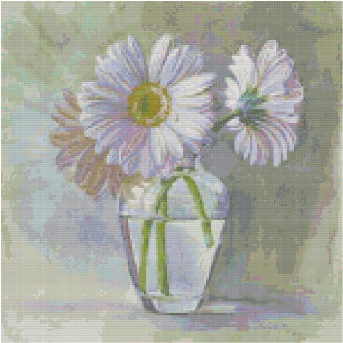 Pearl White Gerbera Daisies Flowers Counted Cross Stitch Pattern