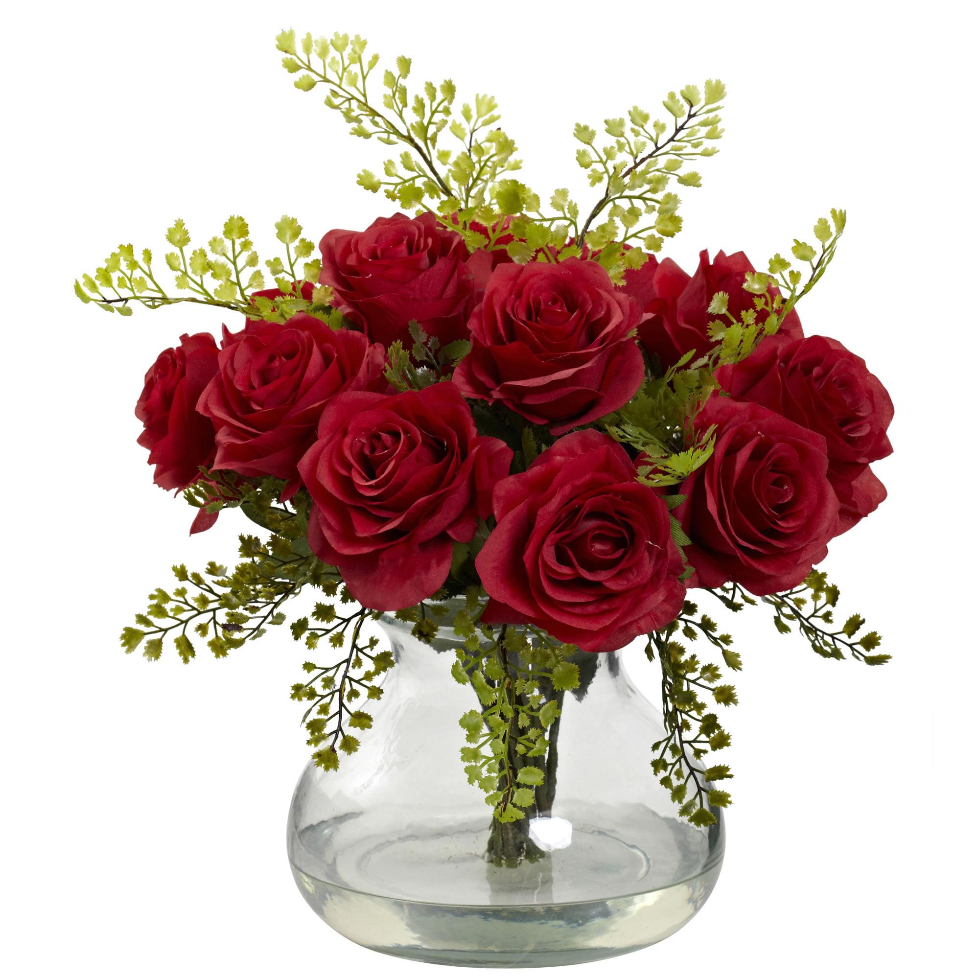 Rose & Maiden Hair Floral Arrangement with Vase