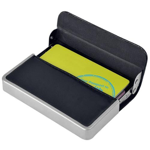 Zodaca Black Men's Stainless Steel PU Leather Business Credit ID Card Holder Case Pocket Box
