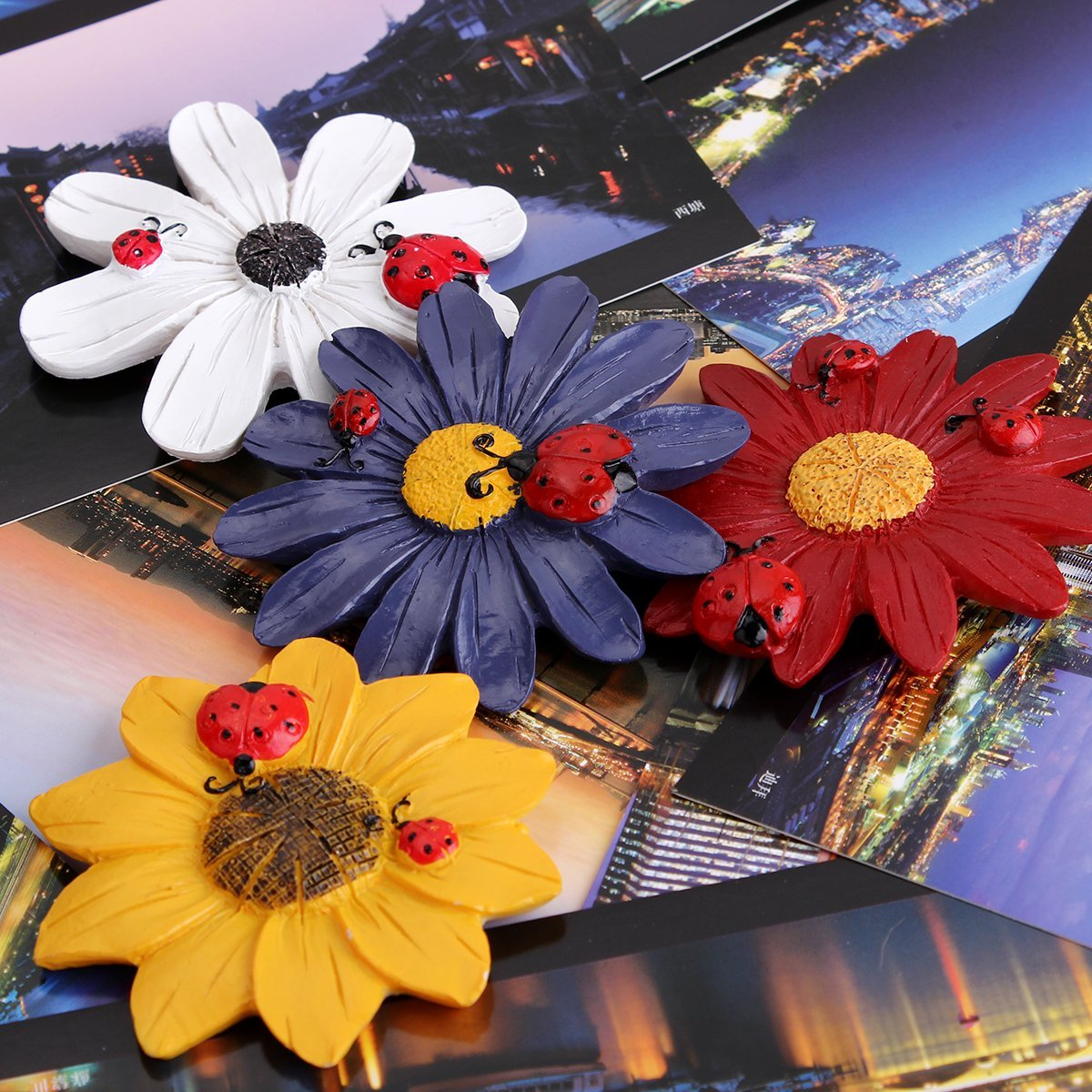 AmyHomie Home Office Whiteboard Flower Design Fridge Refrigerator Magnets,4 pcs photo magnet for ...