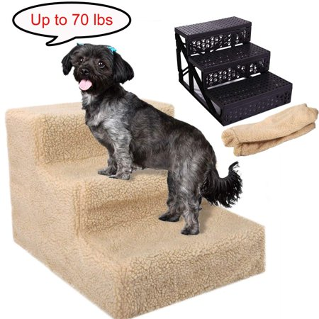 Pet 3-Steps Stairs Soft Portable Cat Dog Ramp Ladder Small Climb With Fleece Cover For Puppy Kitten Up to 70 lbs Beige