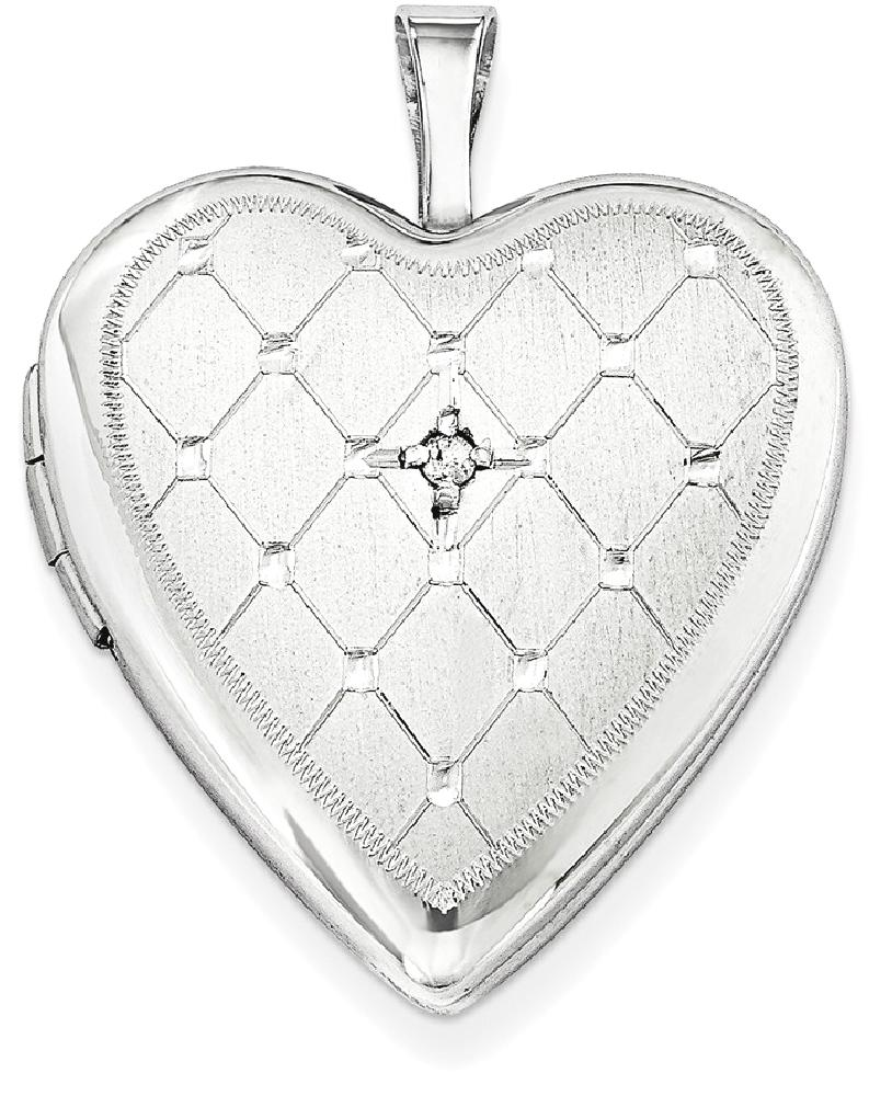 IceCarats 925 Sterling Silver Diamond 20mm Heart Photo Pendant Charm Locket Chain Necklace That Holds Pictures Fine... by IceCarats