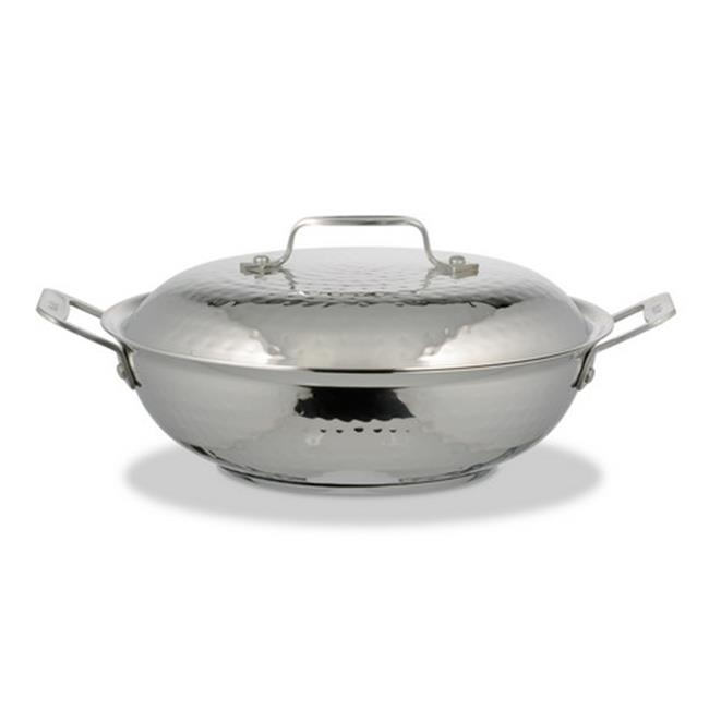 Bon Chef 60011HF 10.37 in. dia. Cucina Braiser Pan Hammer with Lid, 2 quart by Bon Chef