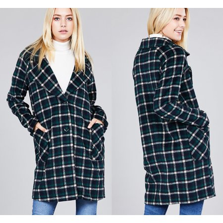 JED FASHION Women's Plaid Long Sleeve Notched Collar Long - Notched Collar Coat
