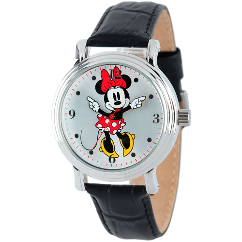 Disney Minnie Mouse Women's Shinny Silver Vintage Articulating Alloy Case Watch, Black Leather Strap