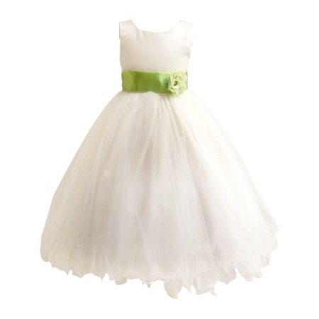 603cc5437 Rafael Collection - Little Girls Ivory Green Sash Satin Tulle 3 ...