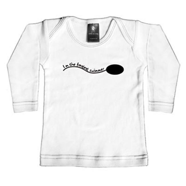 Rebel Ink Baby 369wls1824 I'm The Fastest Swimmer- 18-24 Month White Long Sleeve Tee