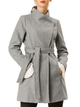 Allegra K Women's Stand Collar Tie Waist Casual Coat Grey (Size S / 6)