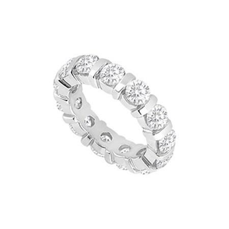 Cubic Zirconia Wedding Bands on 925 Sterling Silver 3 Carat CZ Eternity Band in Bar Setting - image 1 de 2