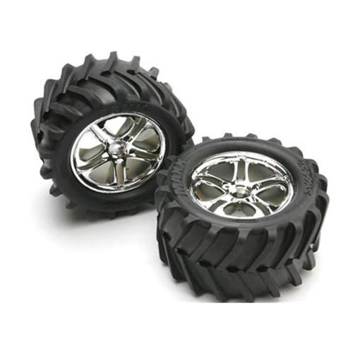 Traxxas TRA5173 Maxx Tires-Split Spoke Chrome Wheels-Foam Inserts - Assembled  Glued  Also Fits Revo Series