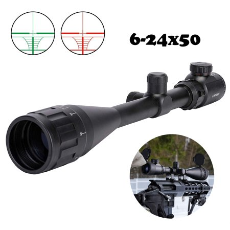 RifleScope 6-24x50 AOE Rilfe Scope Hunting Red and Green Illuminated Gun Scope with 20mm Rail (Best Turkey Hunting Shotgun Scope)