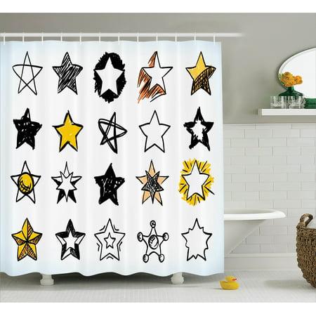 House Decor Shower Curtain Sweet Sixteen Stars Hand Drawn Colorful Art Rock Punk Themed Teen