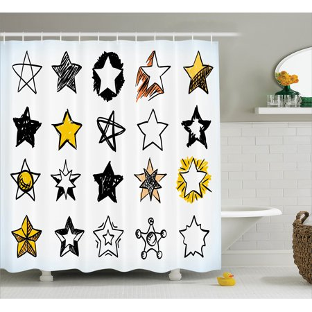 House Decor Shower Curtain, Sweet Sixteen Stars Hand Drawn Colorful Art Rock Punk Themed Teen Room Art, Fabric Bathroom Set with Hooks, 69W X 84L Inches Extra Long, Yellow White, by Ambesonne