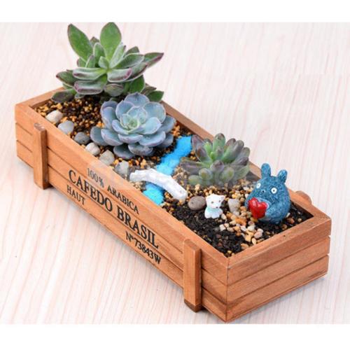 Topincn Indoor Outdoor Wooden Herb Flower Succulent Planter Box Home