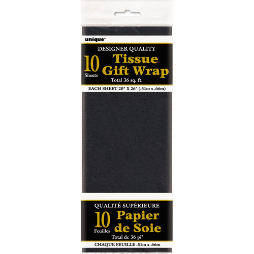 Tissue Paper Sheets, 26 x 20 in, Black, 10ct