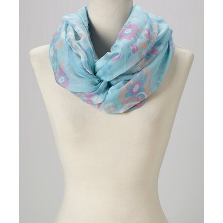 Multi Floral Scarf - Amtal Women Soft & Lightweight Floral Design Multi Color Infinity Scarf