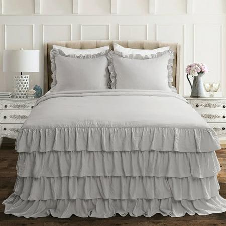 Queen 3pc Allison Ruffle Skirt Bedspread Set Light Gray - Lush Décor