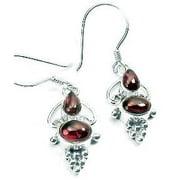 Bali Style Sterling Silver Ornate Double Garnet Hook Earrings