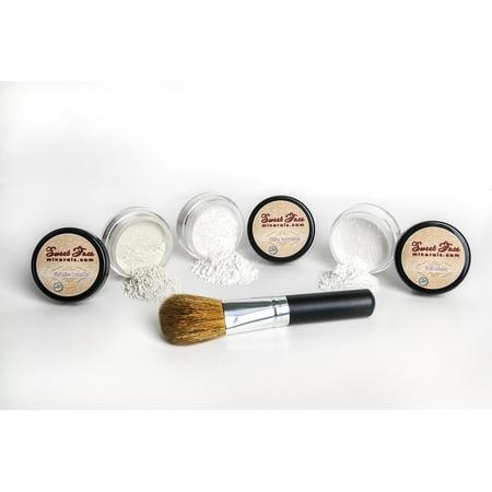Veil Primer, Shine Reduction, Finishing Makeup Setting Powder & Face Brush Mineral Makeup Kit Face Oil Control Skin Set