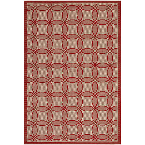 Couristan Five Seasons Retro Clover Flat Woven Courtron Rug, Red and Natural