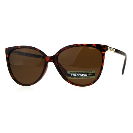 - Polarized Antiglare Womens Oversize Cat Eye Rhinestone Designer Sunglasses Tortoise Brown