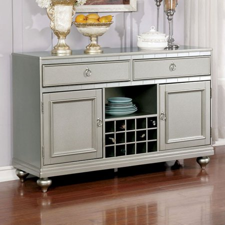 Contemporary Style Server, Silver Gray Finish (Style Server)