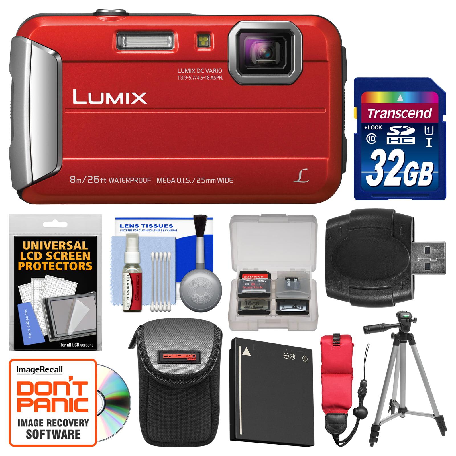 Panasonic Lumix DMC-TS30 Tough Shock & Waterproof Digital Camera (Red) with 32GB Card + Case + Battery + Tripod + Float Strap + Kit