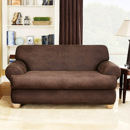 Sure Fit Stretch Leather 2 Piece T Cushion Loveseat Slipcover Brown