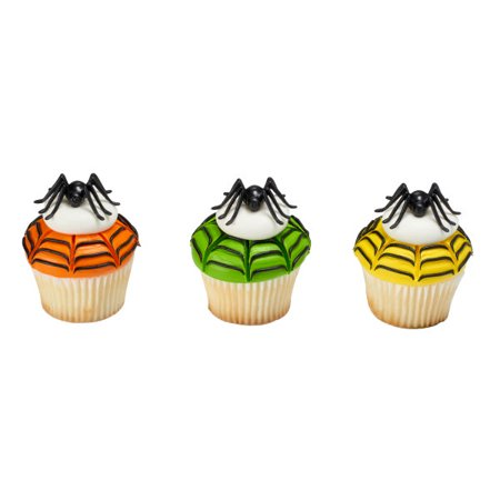 Halloween Small Black Spiders - Cake & Cupcake Toppers - 12 Count - 20861 - National Cake Supply - Small Black Spider