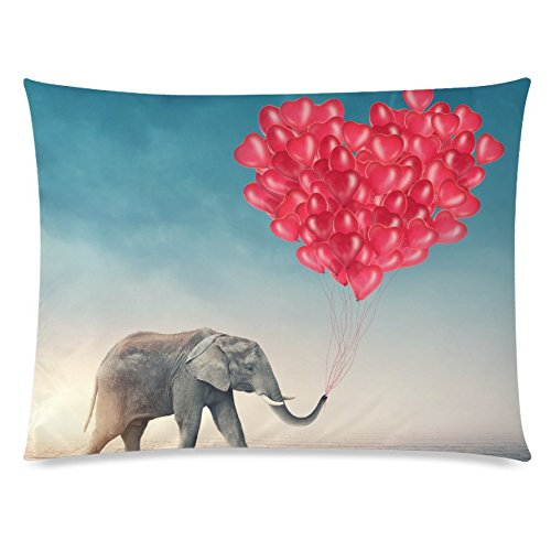 ZKGK Funny Elephant Home Decor, Love Red Balloon Pillowcase 20 x 30 Inches,Happy... by ZKGK
