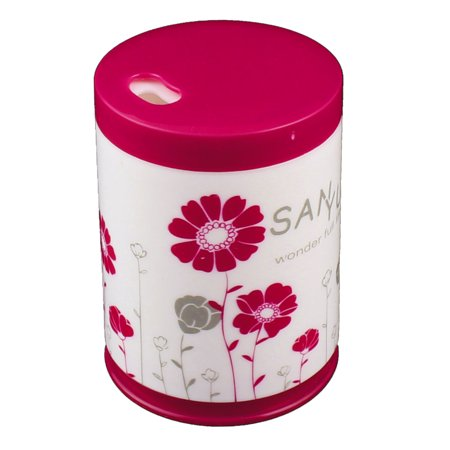 Uxcell Home Plastic Cylinder Shaped Floral Pattern Toothpicks Case Holder Fuchsia White
