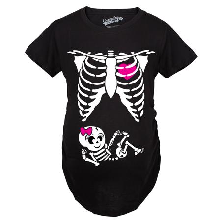 Maternity Baby Girl Skeleton Cute Pregnancy Bump Tshirt (Black)