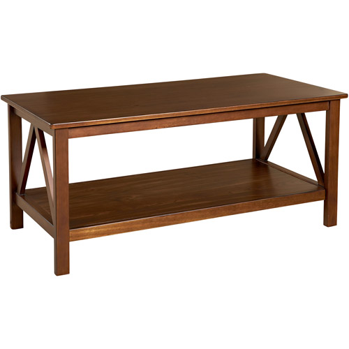 Linon Home Titian Coffee Table, 20 inches Tall, Antique Tobacco