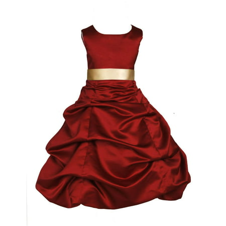 Ekidsbridal Formal Satin Apple Red Flower Girl Dress Christmas Bridesmaid Wedding Pageant Toddler Recital Easter Holiday Communion Birthday Baptism Occasions 2 4 6 8 10 12 14 16 806s Gold size 16 (Christmas Dress Up For Kids)