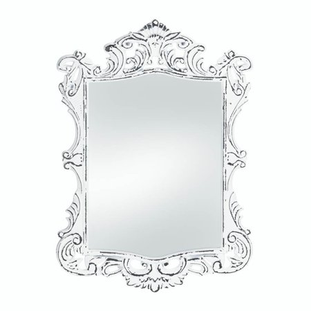 Wall Mirrors Decorative, Square Antique Rustic Regal White Etched ...