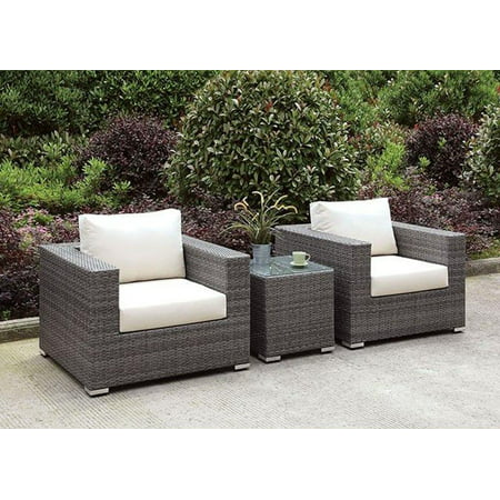 Patio Lounge Chairs W/ End Table Set 3Pcs Furniture of America Somani