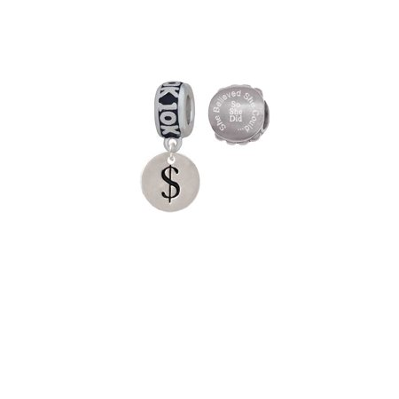 Silvertone Disc 1/2'' - Symbol - Dollar Sign - $ - 10K Run She Believed She Could Charm Beads (Set of