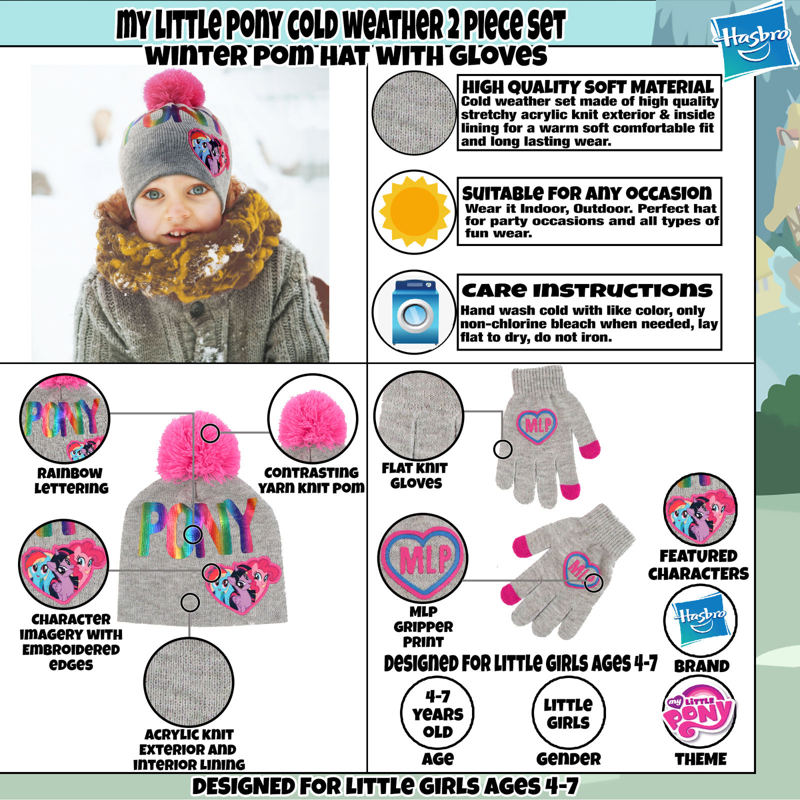 4a7213e0fa619 Hasbro - Hasbro My Little Pony Hat and Gloves Cold Weather Set ...