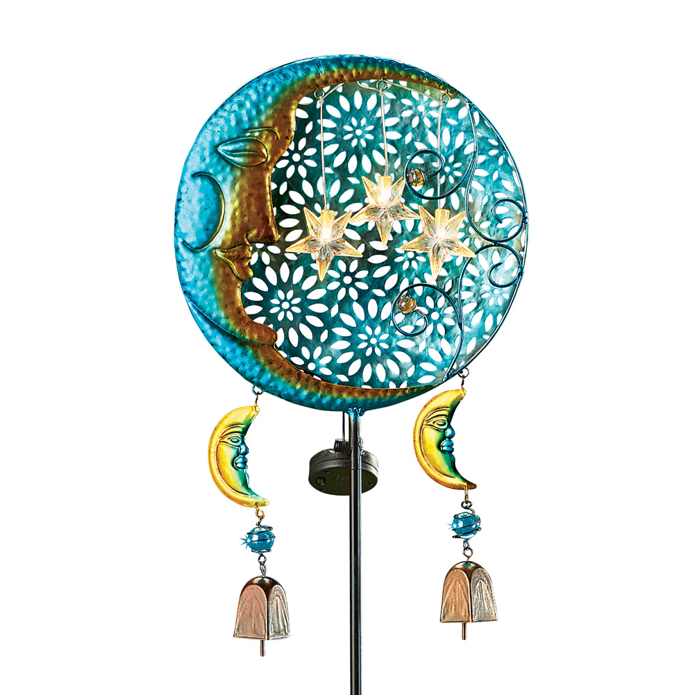 Colorful Night Stars and Bells Solar Yard Stake - Seasonal Outdoor Décor and Beautiful Light at Night